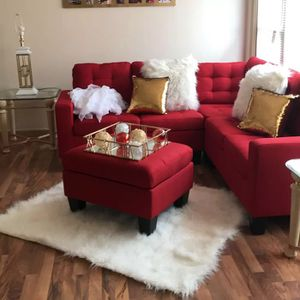Brand New Red Linen Sectional Sofa Couch + Ottoman (3 Color Options) for Sale in Silver Spring, MD