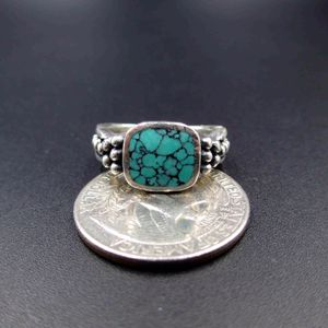 Vintage Estate Size 6.5 925 Sterling Silver Turquoise Inlay Band Ring Wedding Engagement Anniversary Everyday Minimalist Statement Cute for Sale in Everett, WA
