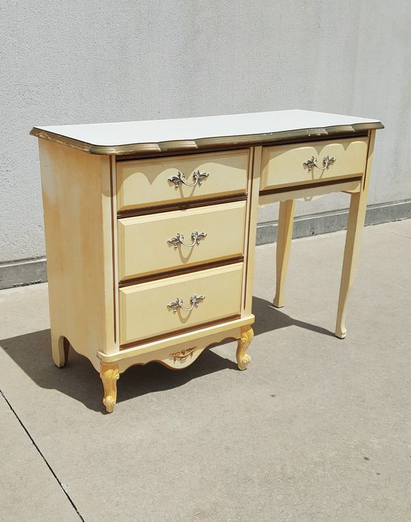 Vintage Dixie Furniture French Provincial 4 Drawer Desk For Sale In