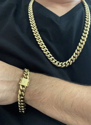 """Photo Cuban link 12mm for 26"""" real gold bonded in stainless steel"""
