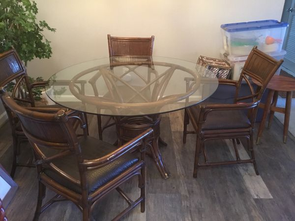 Kitchen Dining Table Set-Pier 1 Imports Glass and Rattan Dining Set for  Sale in San Ramon, CA - OfferUp