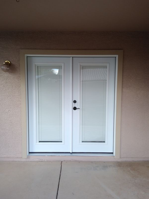 New double French door with built-in blinds, new lock set and complete  installation for Sale in Phoenix, AZ - OfferUp