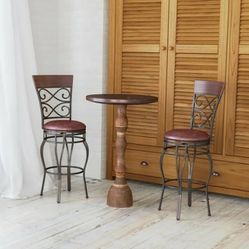360 Degree Swivel Bar Stools Set of 2 with Leather Padded Seat  Thumbnail