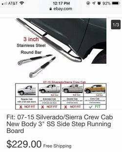 "Brand New 3"" Nerf Bars 07-15 Silverado/Sierra Crew Cab Thumbnail"