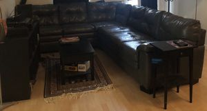 Grey leather L Couch for Sale in Arlington, VA