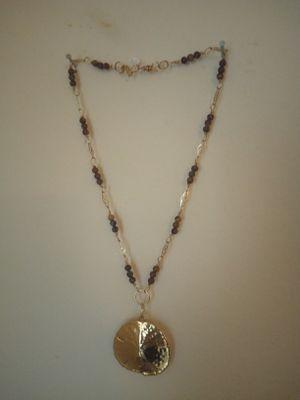 Photo Necklace gold sand dollar, jasper beads, g/f links