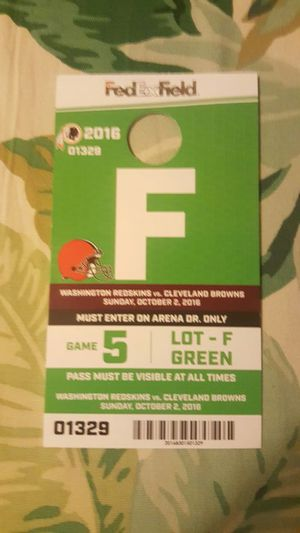 Skins vs. Browns parking pass Oct. 2nd for Sale in undefined