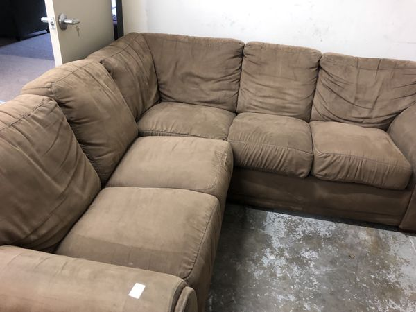 Super We Can Deliver Brown Microsuede Sectional Couch Caraccident5 Cool Chair Designs And Ideas Caraccident5Info