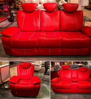 3 pc red reclining living room set for Sale in Atlanta, GA