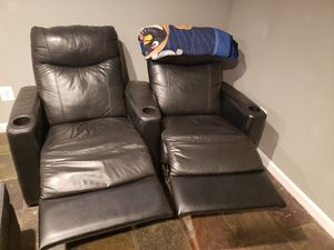 Twin black leather chairs for Sale in Gaithersburg, MD