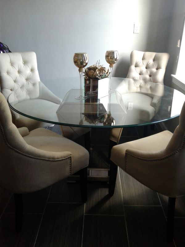 Used Marais Dining Room Furniture 5 Piece Set 54 Mirrored Table And 4 Side Chairs City Of Orange