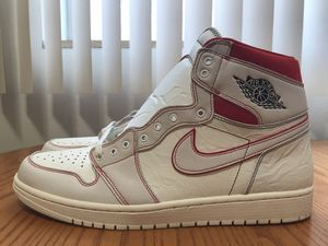 "Photo Nike Air Jordan 1 Retro High OG ""Phantom"" Sail, Red, Black, Men's Size 15"