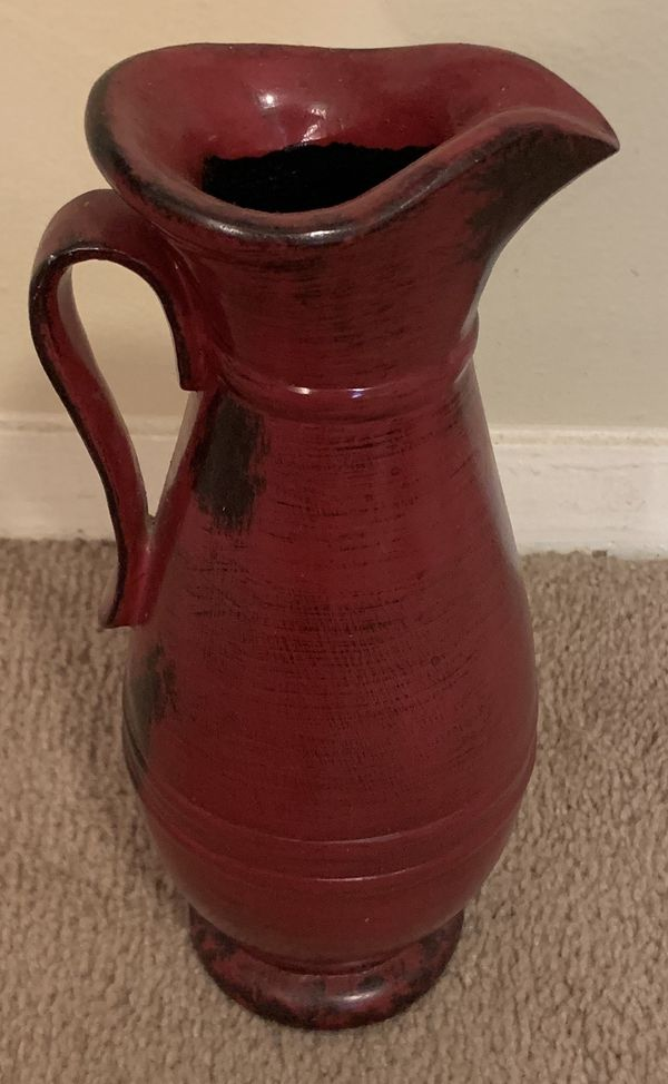 RED DISTRESSED POTTERY PITCHER HOME ART DECOR FARMHOUSE ...