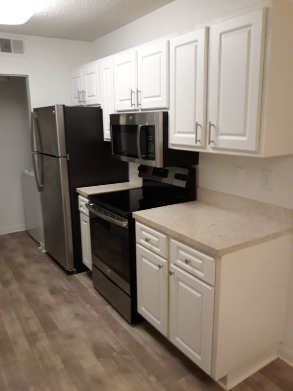 Kitchen cabinets and stainless steel appliances set for ...