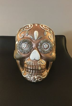 Ceramic hand painted rustic rose gold skull candy decor for Sale in Marietta, GA
