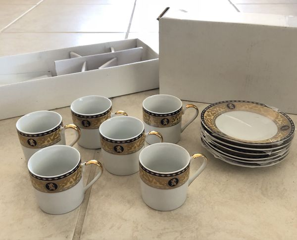 New Italian Design Fine Porcelain Saucer Teacup Set 6 For Sale In