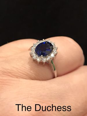Royal Oval Cut Blue Sapphire Halo Setting Engagement Ring Wedding Anniversary bridal Promise SOLID 925 Sterling Silver SIZE 7 & 8 for Sale in Glendale, AZ
