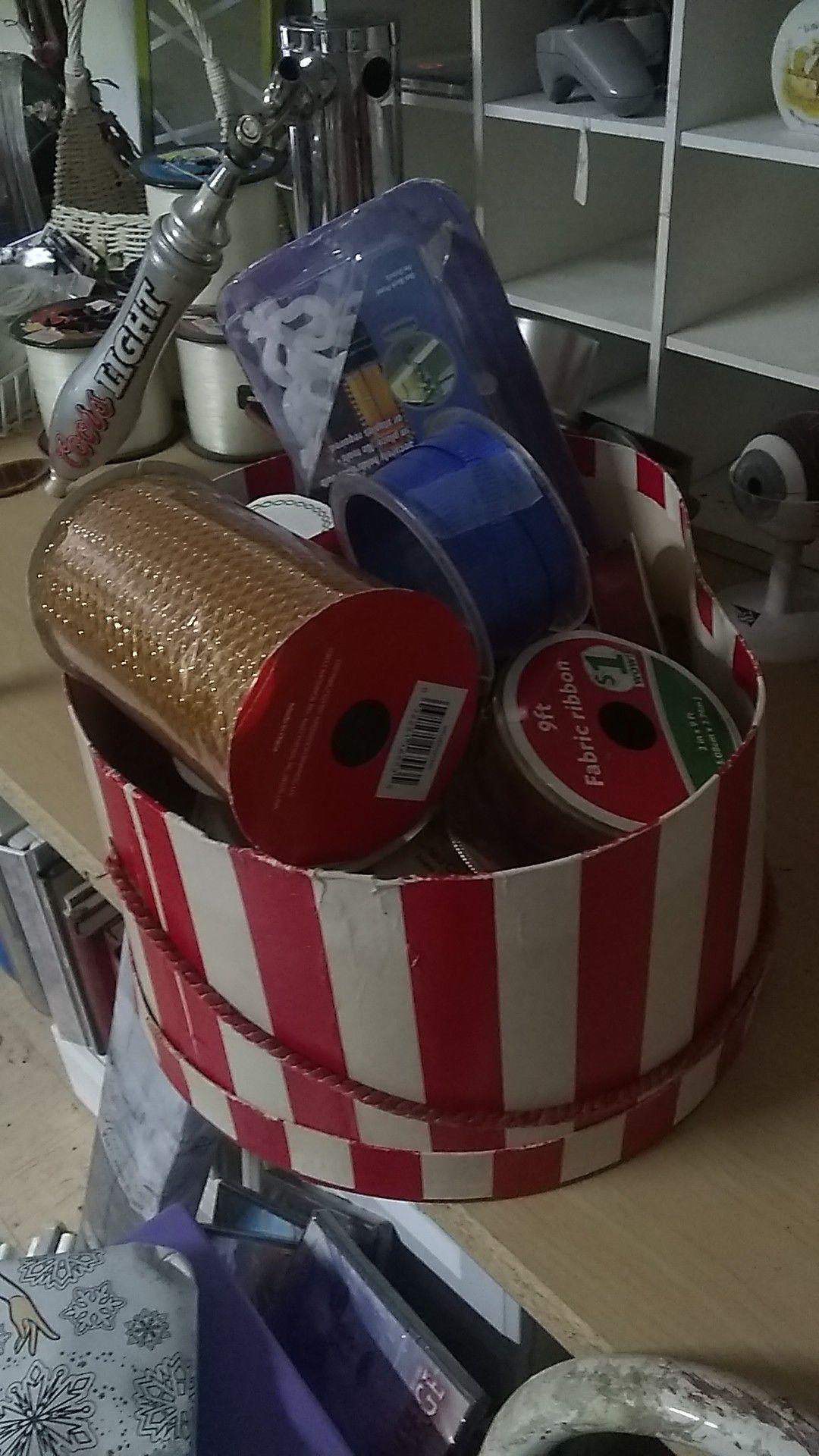 Box full of ribbon