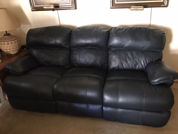 Dark blue leather sofa and recliner for Sale in Phoenix, AZ - OfferUp