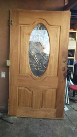 42 inches X 79 mahogany entry door plus 2 side one light door 15X 79 inches Thumbnail