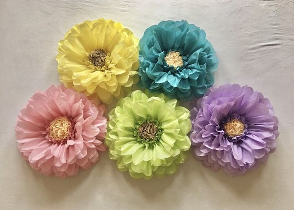 Extra Large Colorful Tissue Paper Flower Decor For Sale In San Diego