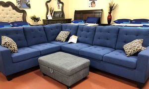 Brand New Large Navy Color Linen Sectional Sofa Couch for Sale in Silver Spring, MD
