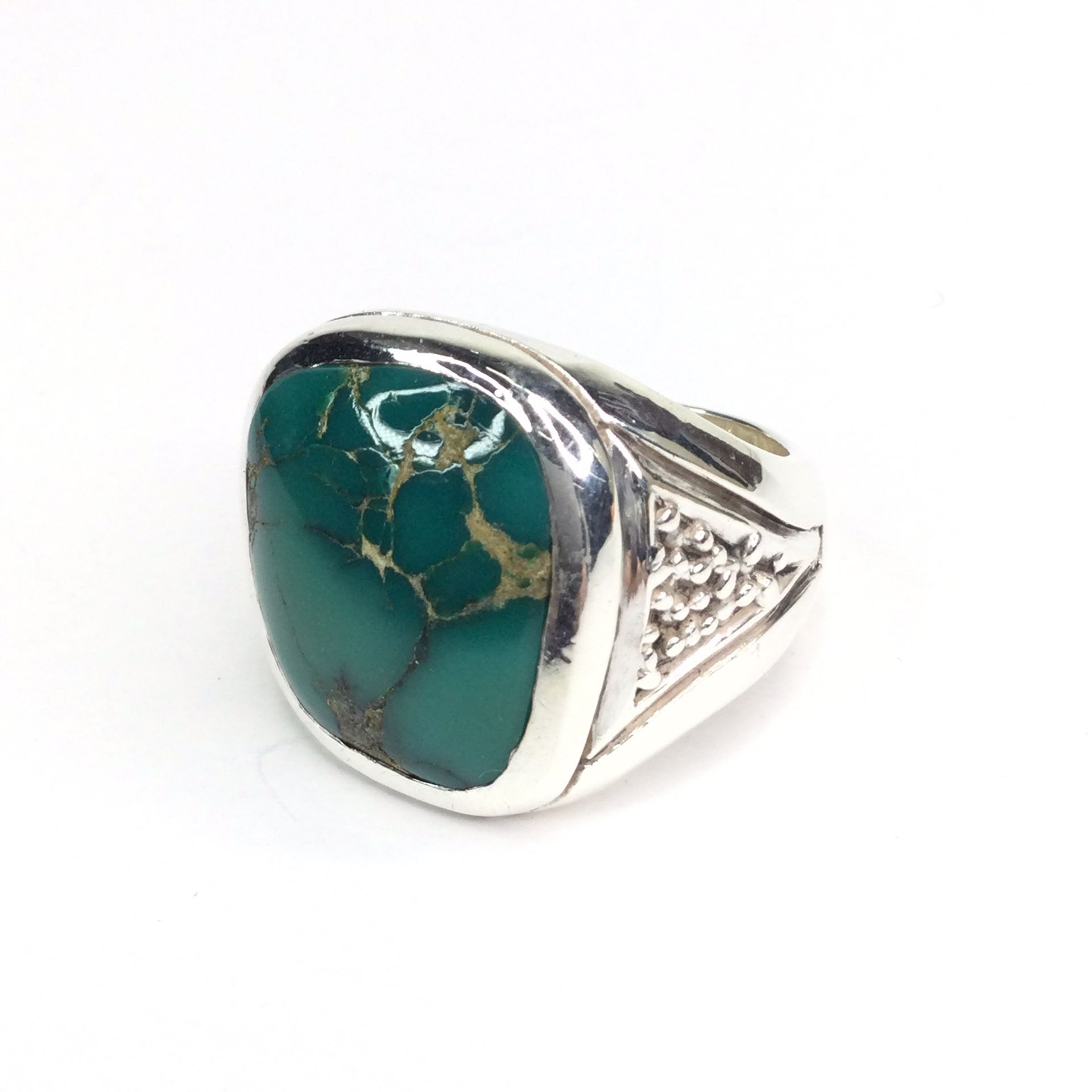 Sterling Silver Large Natural Chrysocolla Ring