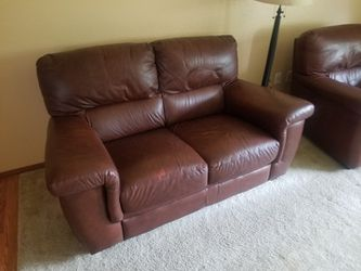 Couch Love Seat Leather No Tears Good Shape Thumbnail