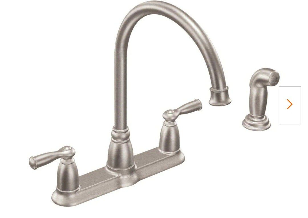 Moen CA87000SRS Banbury High-Arc 2-Handle Standard Kitchen Faucet with Side Sprayer in Spot Resist Stainless