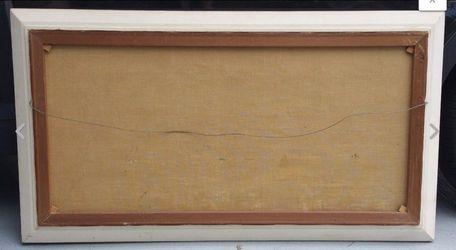 "48"" Vtg Mid Century European Oil Painting on Canvas Signed Scheffer Landscape Thumbnail"