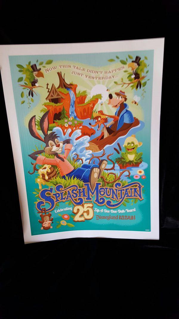 Disney Disneyland 25th anniversary Splash Mountain poster no frame ...