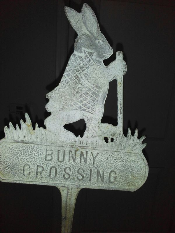 4 Metal Yard Stake Bunny Crossing Sign For Garden Or