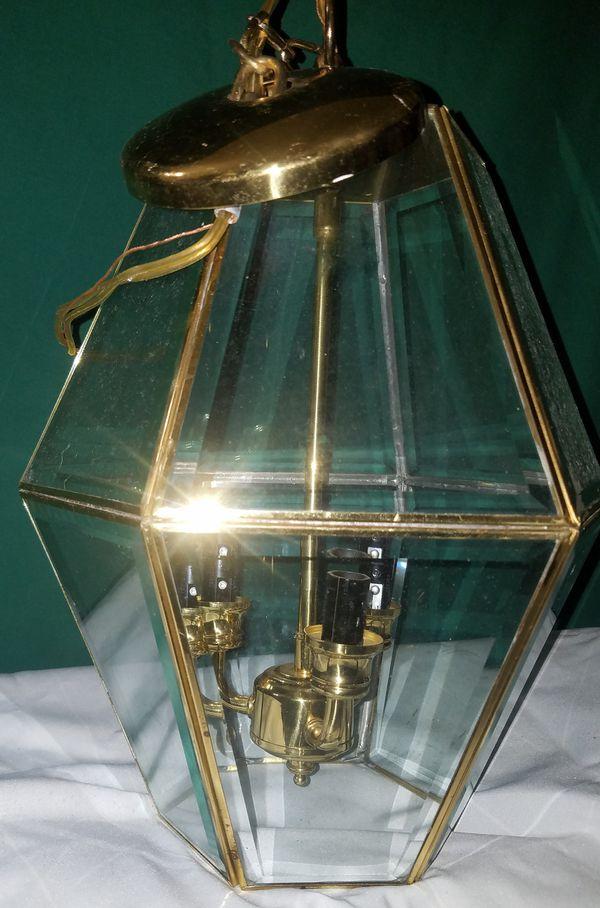 Brass Hanging Light Fixture, hanging, brass with 3 Candelabra E12 ...