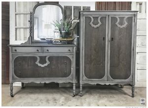 Photo Modern Farmhouse Armoire + Dresser w/ New Mirror