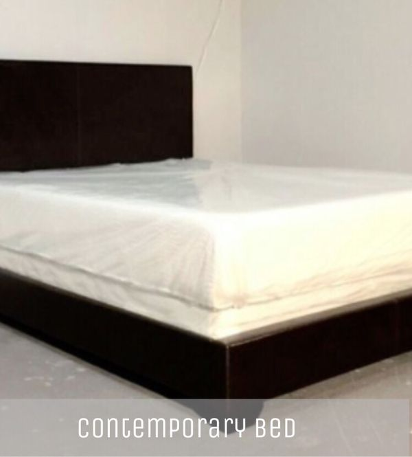 Queen contemporary bed with mattress and free delivery for Sale in ...