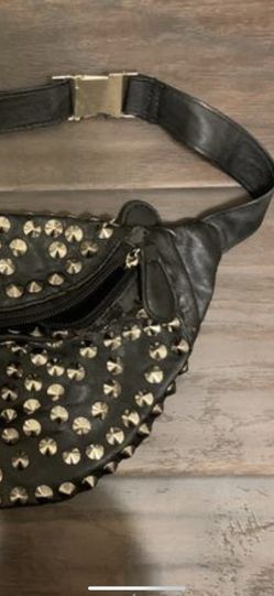 Faux leather studded black leather fanny pack Thumbnail