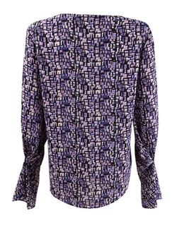 DKNY Women's Printed Pleated-Sleeve Blouse (S, Purple Multi) Thumbnail