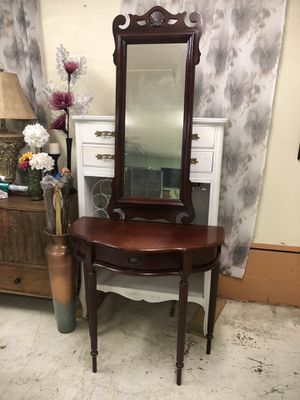 Entry table with matching mirror mahogany for Sale in Garner, NC