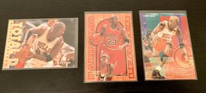 Photo 1995-96 Fleer Basketball - Michael Jordan - 3 card lot - Hardwood Leaders, Total D, and base - Near Mint