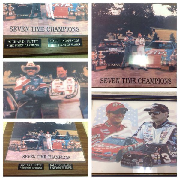 Richard Petty For Sale: RICHARD PETTY & DALE EARNHARDT PLAQUE For Sale In Stone
