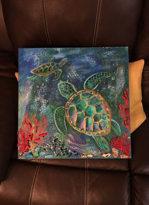 Painting for kids room, sea turtles, mixed media for Sale in Rockville, MD