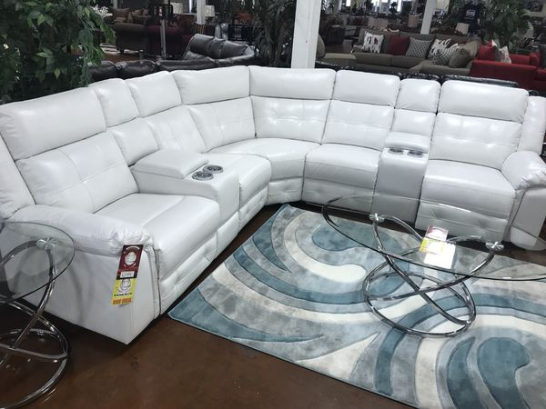 White Leather Reclining Sectional Home Design Ideas