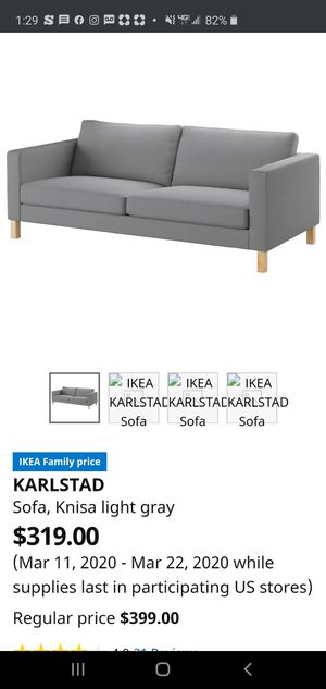 Photo IKEA Karlstad sofa - white Measures approx: 81 wide x 35 deep x 26 tall.