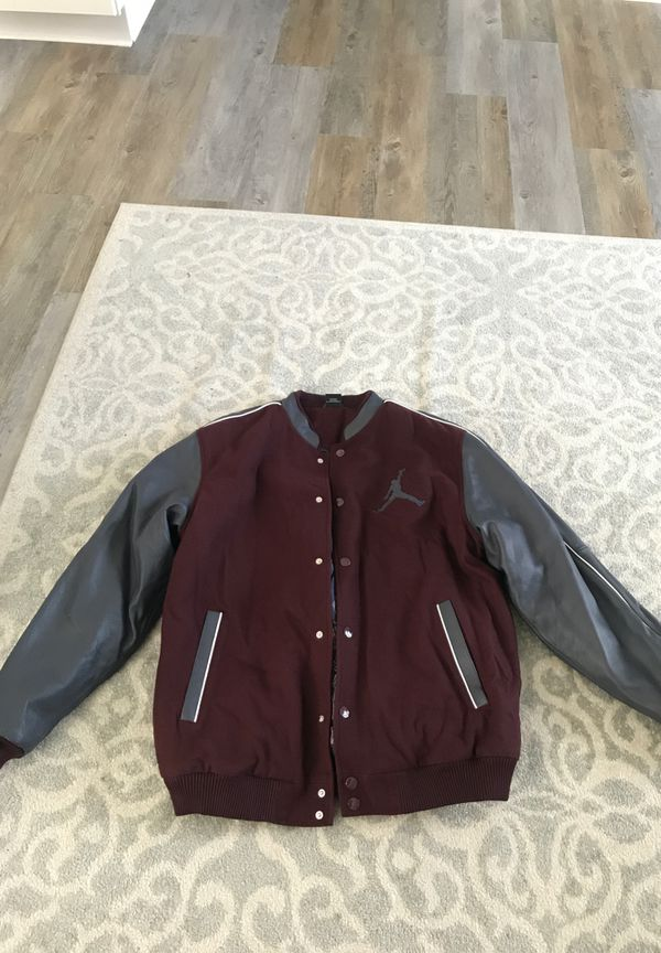 Xl Jordan Varsity Leather Button Jacket For Sale In