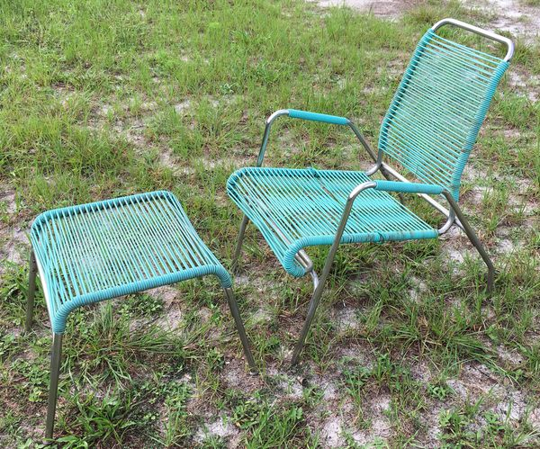 Vintage Mid Century Surf Line Style Patio Chair And Ottoman