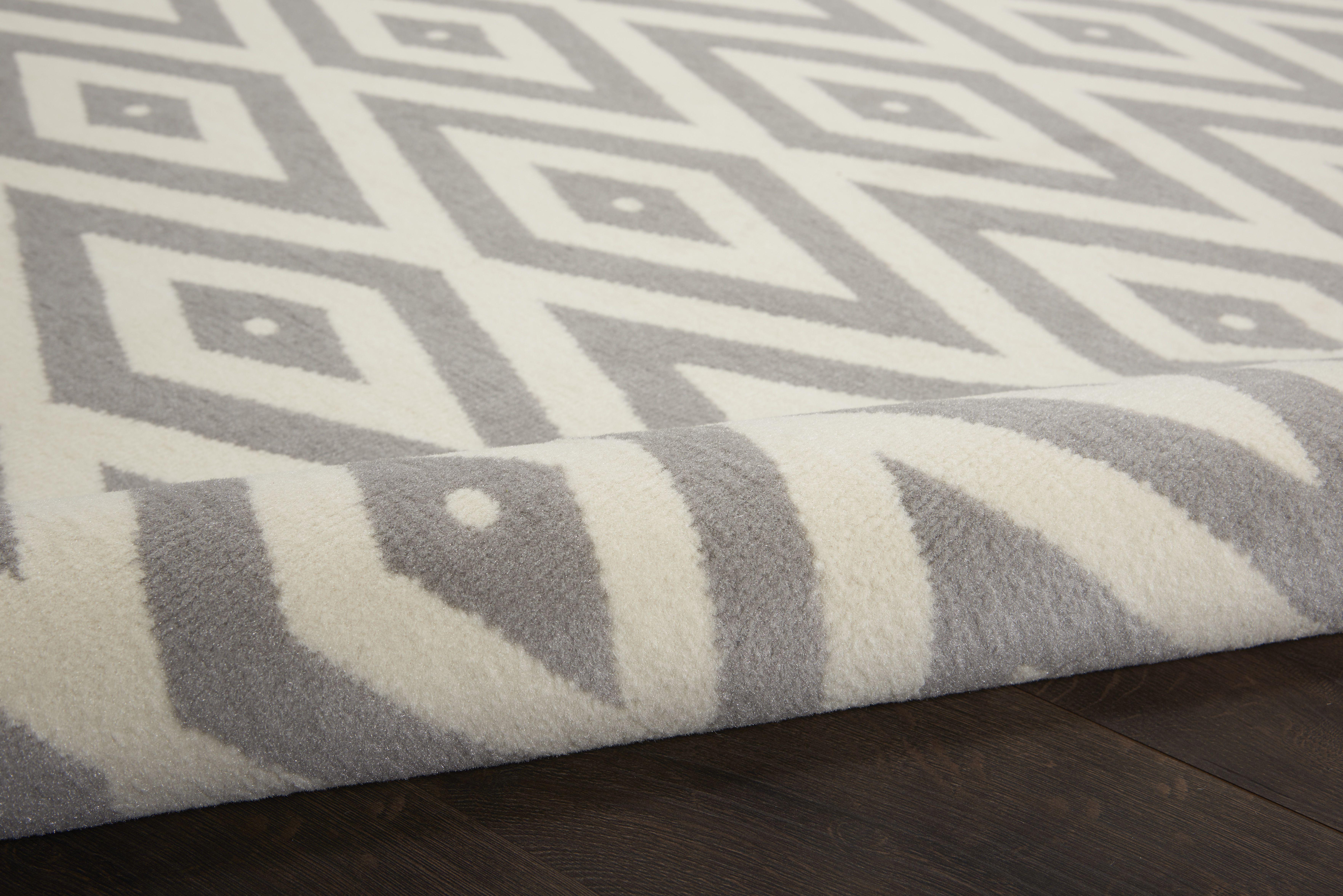 Nourison Grafix Rectangle 6'X9' White And Grey Area Rug 099446719553