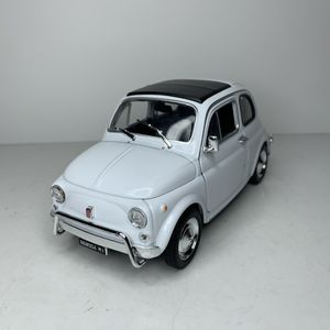 Photo NEW Large White Italian Fiat Nuova 500 Compact Car Toy Diecast Metal Model Scale 1/24 1:24 124 Vintage Classic