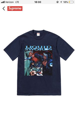 Supreme liquid swords tee Navy M in hand right now for Sale in Los Angeles, CA
