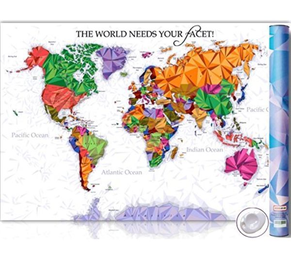Unique Diamond Scratch Map – Large World Map Poster – Wall Art ...