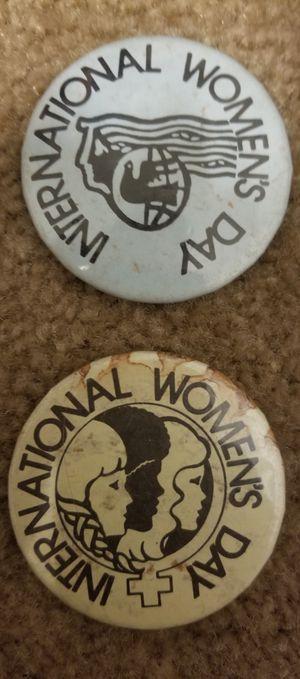2 Vintage International Women's Day buttons for Sale in Garner, NC